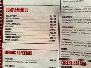 Cardápio - Mr Jack's ou Best Burger (Shopping Paulista)