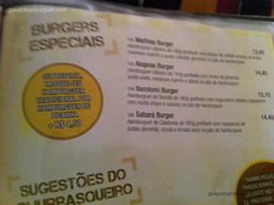 Cardápio de Hambúrgueres Especiais - Hamburgueria do Sujinho (Consolação)