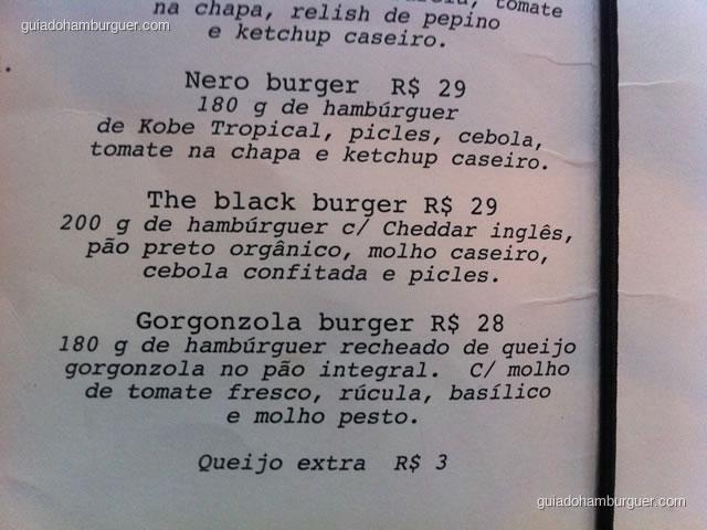 Contiuação do cardápio de hambúrgueres - Casa Nero