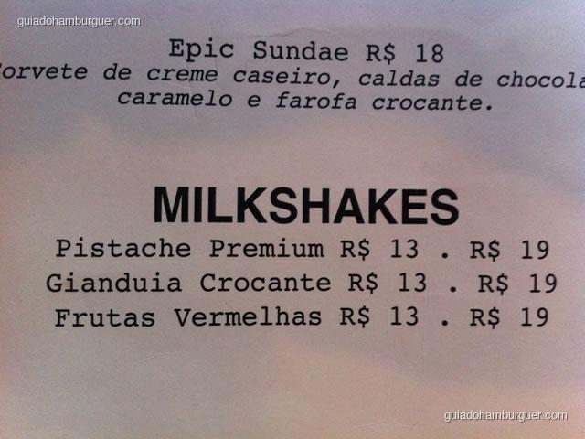 Cardápio de milkshakes - Casa Nero