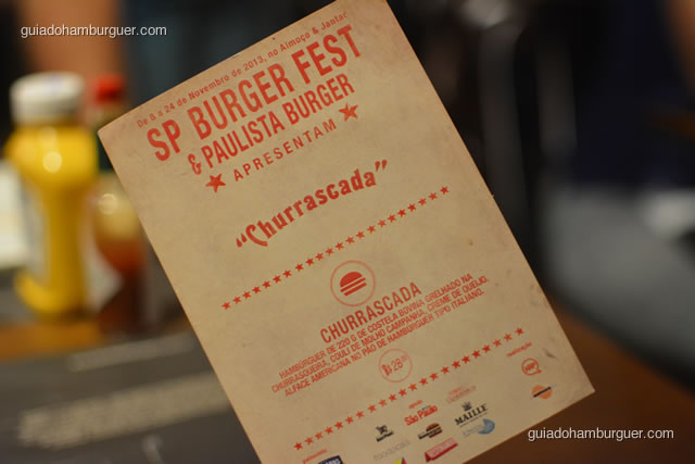 Cardápio do hambúrguer do SP Burger Fest - Paulista Burger