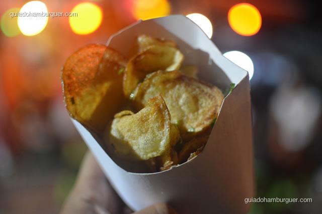 Fritas servidas em rodelas