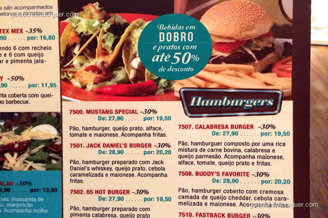 Muitas opções de hambúrgueres - Mustang Sally