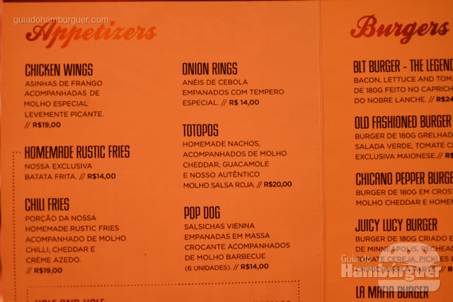 Entradas, os Appetizers - Cadillac Burger