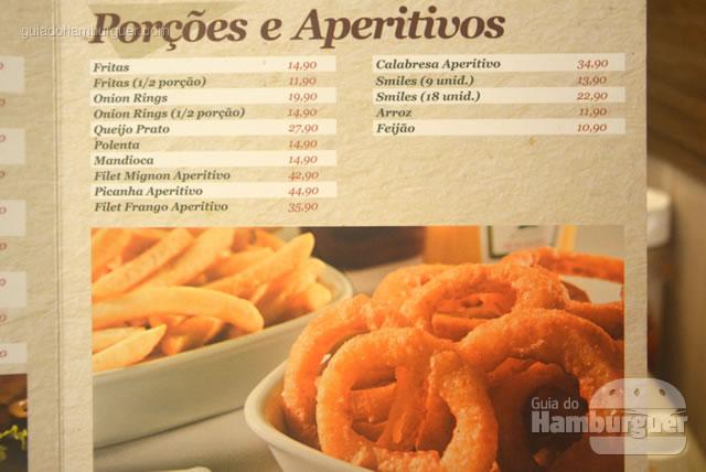 Cardápio de porções e aperitivos, bem tradicional - Osnir Hamburger