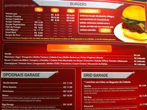 Cardápio - Garage Burger