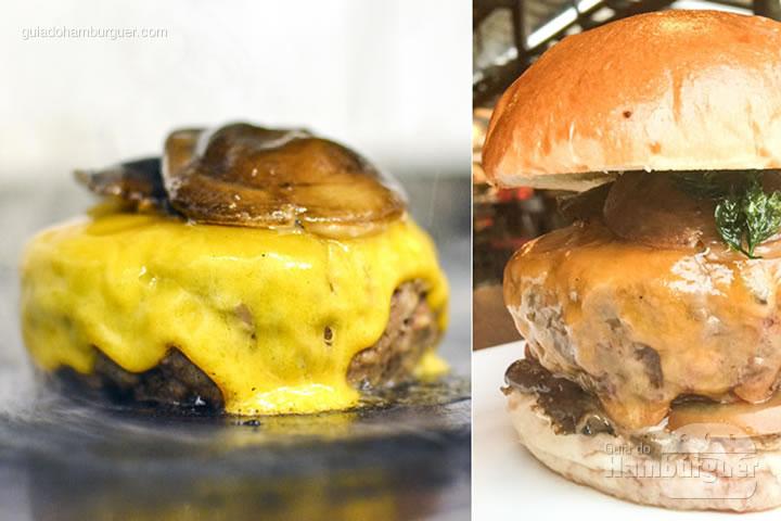Osaka Burger, cheddar inglês, cogumelos salteados com mel e shoyu, tomate e maionese de alho negro - Desafio Chip's Burger