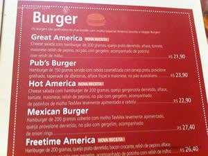 Cardápio - America 10º Festival de Burger