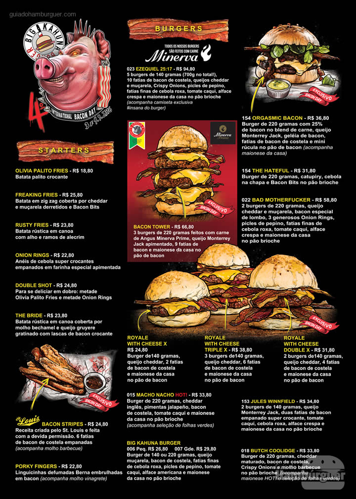 Cardápio - 4º International Bacon Day no Big Kahuna Burger