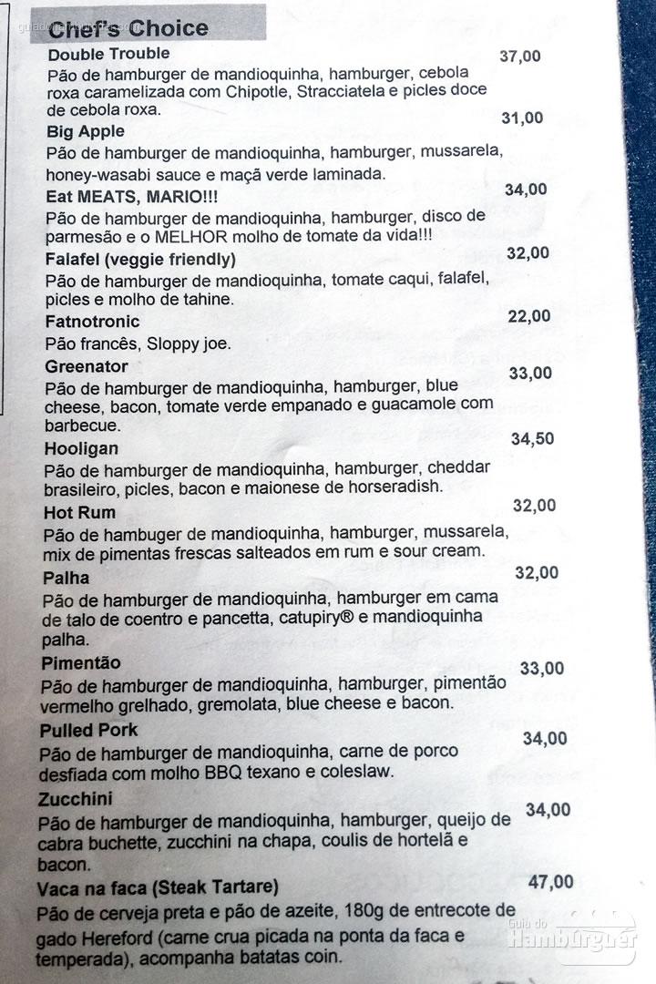 Cardápio dos burgers especiais - Meats