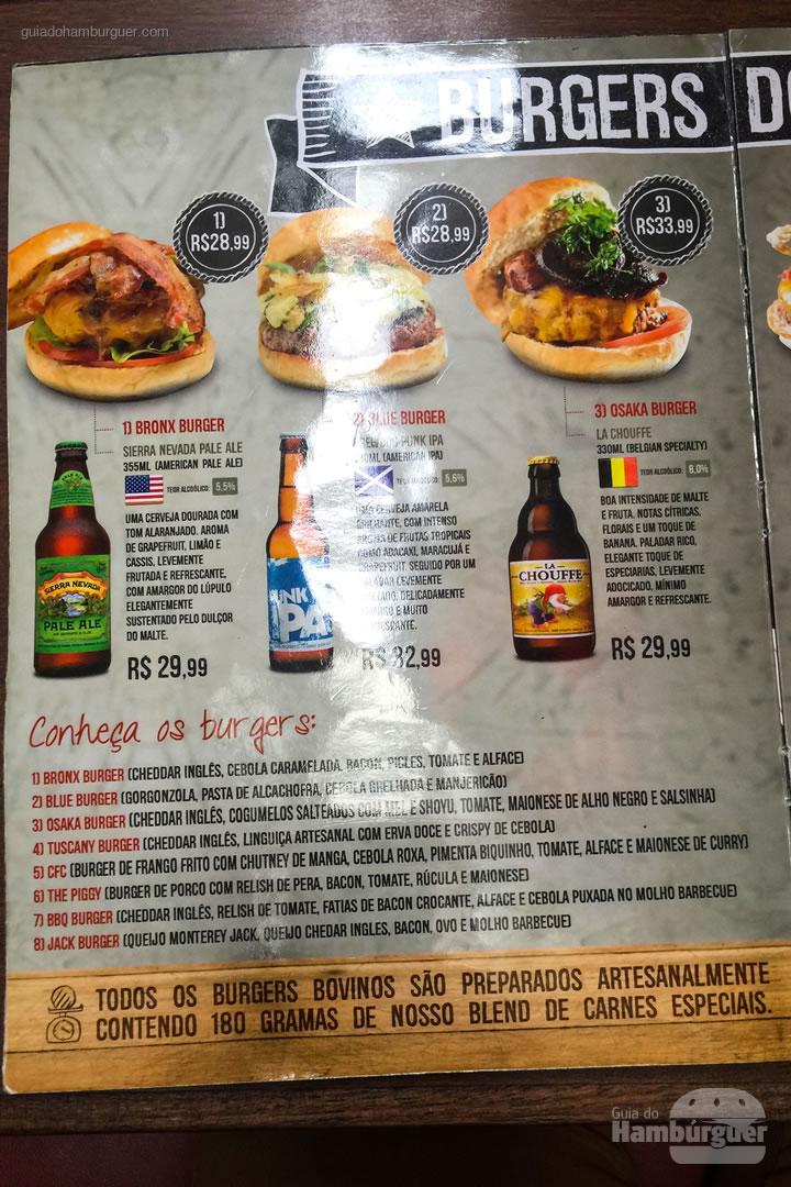 Cardápio com novos burgers - Chip's Burger