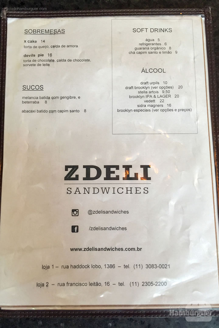Cardápio - Z Deli Sandwich Shop