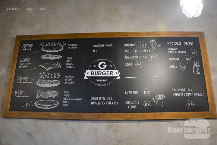 Cardápio na parede - G Burger