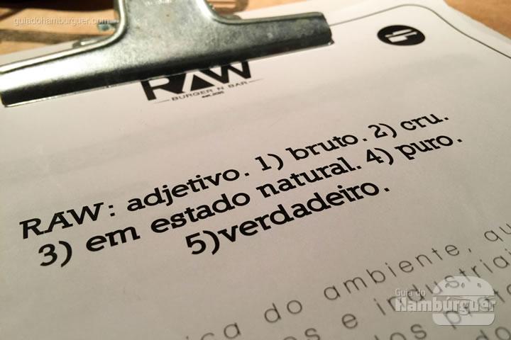 Cardápio - Raw Burger