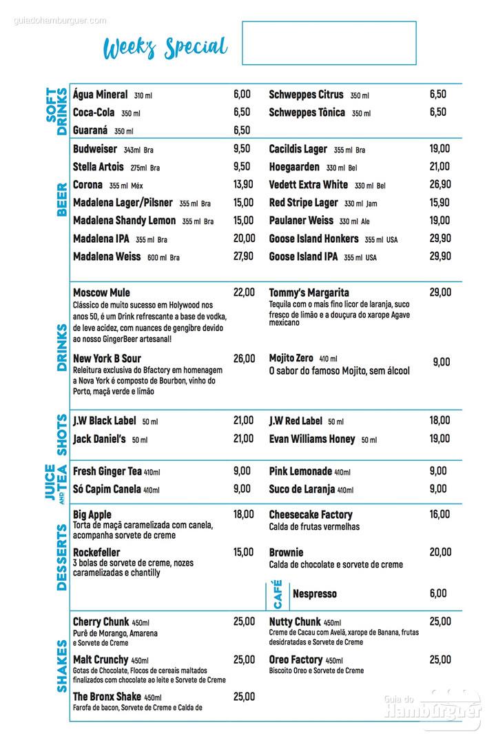 Cardápio com sobremesas e bebidas com preço - BFactory Hamburgueria em Santo André