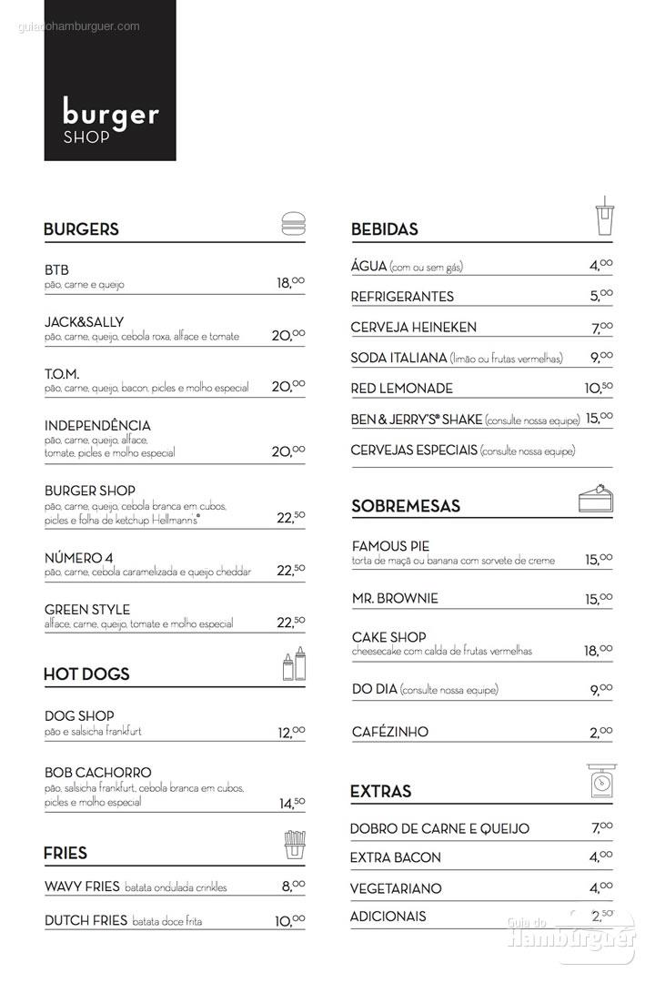 Cardápio com preços  - Burger Shop
