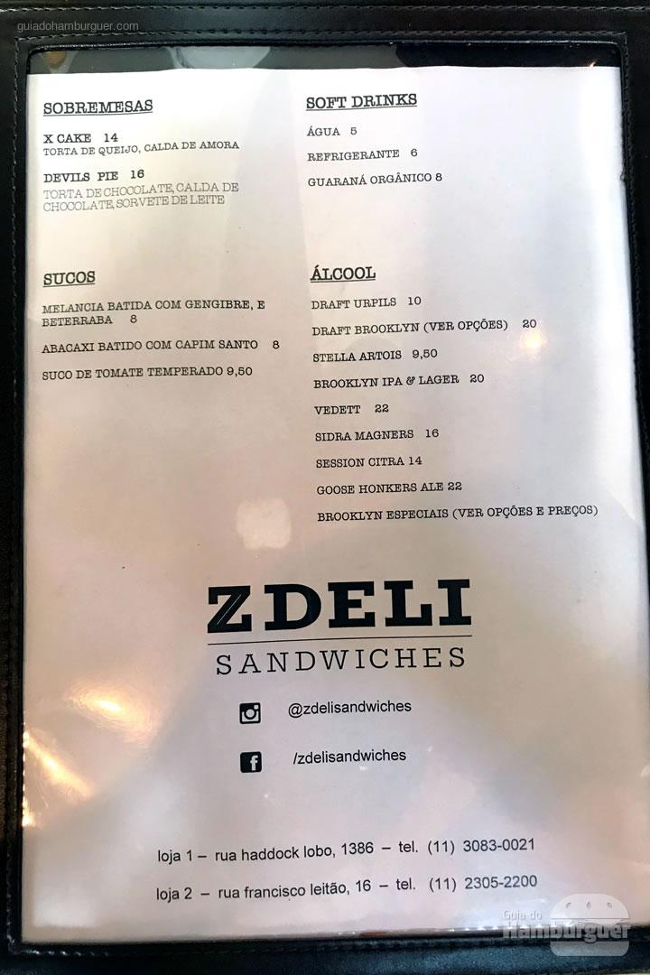 Cardápio - Z Deli Sandwiches