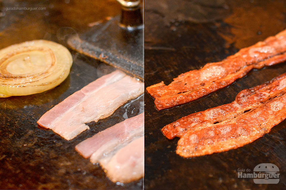 Preparação do bacon na hora - Micro Hamburgueria
