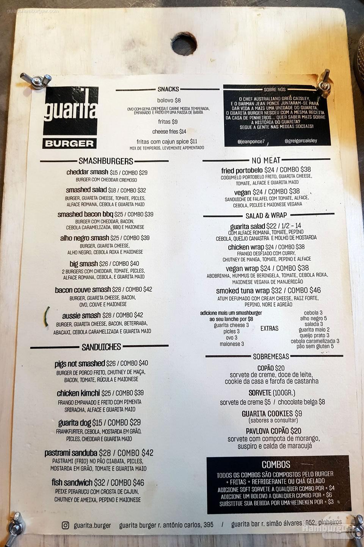 Cardápio - Guarita Burger