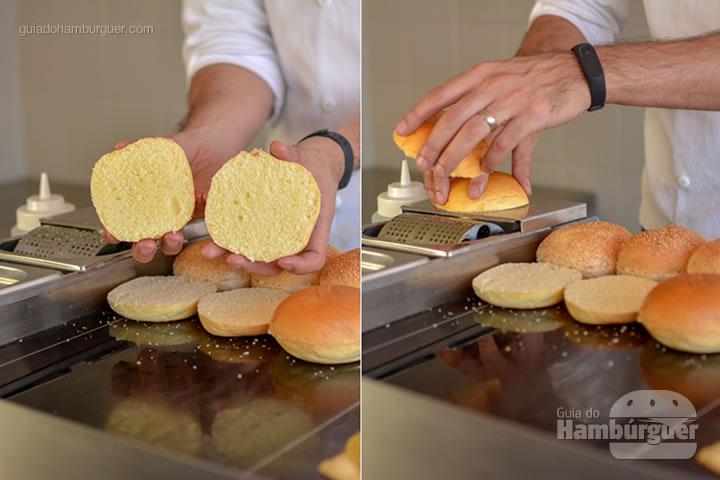 Selando o pão - Chapa para hambúrguer vitrocerâmica Plana da Evo Pro