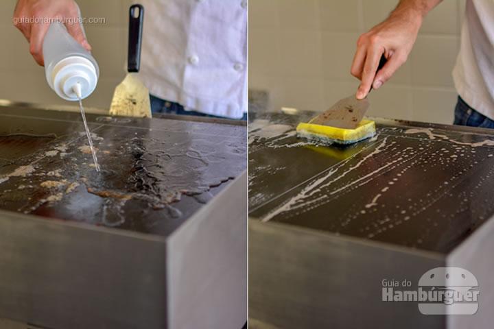 Iniciando a limpeza final - Chapa para hambúrguer vitrocerâmica Plana da Evo Pro