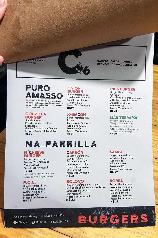 Cardápio - C6 - Pinheiros - São Paulo