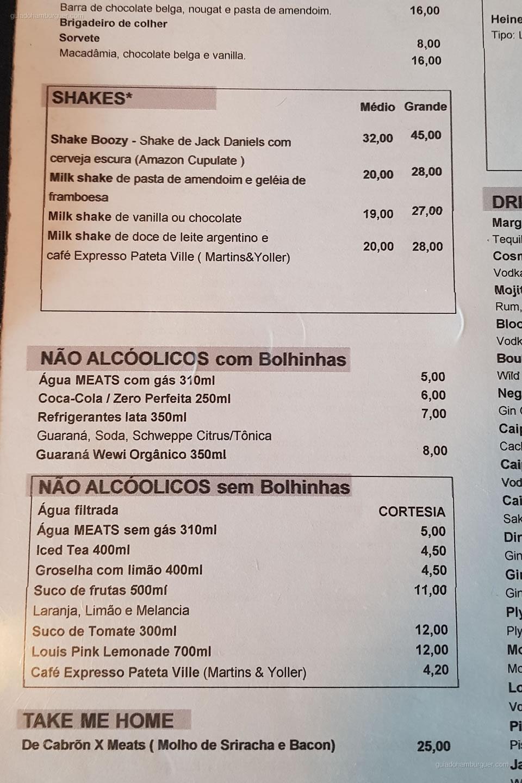 Cardápio de Bebidas - Meats - Pinheiros - São Paulo